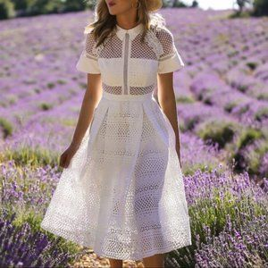 self portrait flora lace midi dress white